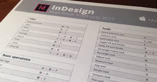InDesign CC 2018 <b>Keyboard</b> Shortcuts (Printable cheat <b>sheet</b>)
