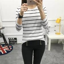<b>Autumn New</b> Striped Loose Slim Ladies Students <b>Long Sleeved T</b> ...