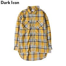<b>DARK ICON</b> Flannel <b>Plaid</b> Shirt Men Hip hop Shirt 2019 Streetwear ...