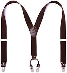 Panegy <b>Men's</b> Leather <b>Clip</b>-on <b>Suspenders 4 Clips</b> Elastic Y-Shape ...