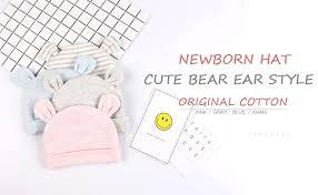 JANGANNSA Cotton Newborn Baby Boys Hat <b>Cute Bear</b> Ears Baby ...