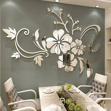 <b>Exquisite Flower</b> 3D Mirror <b>Wall Stickers</b> Removable Decal Art Mural ...