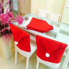 household dining table set christmas snowman knife: pcs set fashion santa clause cap red hat furniture chair back cover christmas dinner table party christmas new year decoration