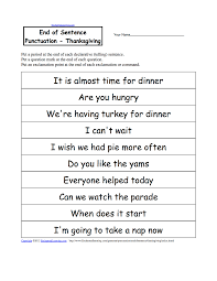 thanksgiving writing worksheets com punctuate