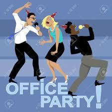 office party three coworkers singing karaoke vector office party three coworkers singing karaoke vector illustration no transparencies stock vector