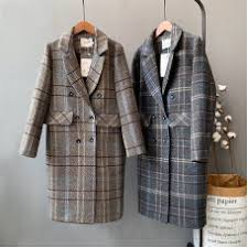 <b>Mooirue</b> Winter <b>Women</b> Woolen Coat <b>Plaid</b> Padded Single Breasted ...