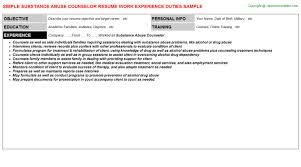abuse counselor job titlesubstance abuse counselor resume