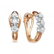 <b>Серьги с 6 бриллиантами</b> из красного золота 78227 купить ...