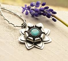 Handcrafted Silver Turquoise Flower Pendant Necklace in a <b>Modern</b> ...