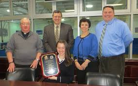 local student wins patriotic essay contest sparta nj local news hailey o connor holding plaque rev msgr kieran mchugh president thomas costello principal jo ann higgs eighth grade teacher and vin bello