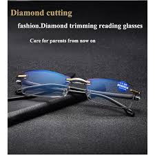 Anti-Blu-ray <b>Diamond Cutting</b> Metal <b>Rimless Reading</b> glasses ...