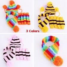 <b>7PCS Pet Dog Cat</b> Puppy Winter Warm Knitted Striped Hats Scarf ...