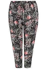 Yours Clothing <b>Women's Plus Size</b> Black <b>Woven</b> Palm Print Tapered ...