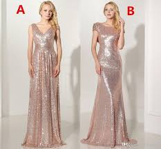 Real 2019 Rose <b>Gold Sequined Long Bridesmaid</b> Dresses Sexy V ...