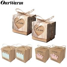 <b>OurWarm 10pcs</b> Kraft Paper Candy Gift Box Heart Crown Gifts Bags ...