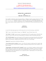 sample llc operating agreement by kennwood llc partnership sample llc operating agreement by kennwood llc partnership agreement sample