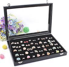 Wuligirl Velvet Clear Lid 100 Slot Ring Organizer ... - Amazon.com