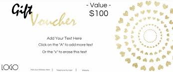 gift vouchers gift voucher a white background and gold text and gold hearts customize
