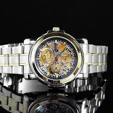 <b>OUYAWEI</b> Mechanical <b>Skeleton</b> Men's Wrist Watch Metal Link Strap ...