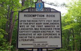 mary rowlandson the legend of redemption rock new england today this marker gives ors a brief history of redemption rock