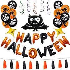 Tian 45Pcs Happy <b>Halloween Balloons</b> Set with Pumpkin Skeletons ...