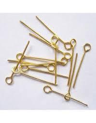 Iron Eyepins, Nickel Free, Golden, 70x0.7mm, Hole: <b>2mm</b>, <b>30pcs</b> ...