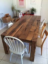 barn kitchen table oak farmhouse kitchen table and chairs from reclaimed barn wood also cardboard fruit boxes above porcelain