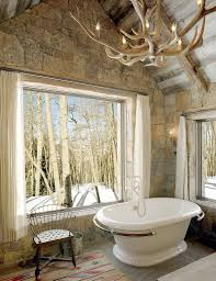 custom made chandelier in the rustic bathroom moves away from glass design jlf crystal chandelier bathtubs bathroom bathroom chandelier lighting ideas