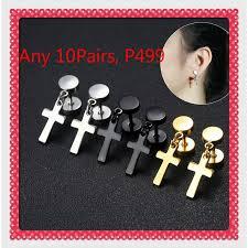<b>2020 Fashion</b>  1 Pair <b>Titanium</b> Steel Barbells Cross Stud Earrings ...