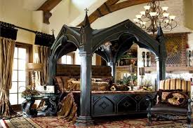 create comfortable gothic style bedroom