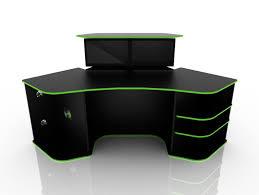 corner computer desk for gaming black color with green strip black computer desks