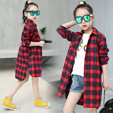 2019 Spring New Style Kids <b>Girls</b> Long <b>Sleeve Cotton Plaid Shirts</b> ...