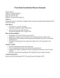 front desk agent cover letter hotel front desk agent resume front front desk coordinator resume example for hotel and office front desk receptionist sample resume