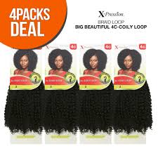 """4 Pack Bundle Of X-Pression 18"""" 4C Coily <b>Loop Synthetic Braid Hair</b> ..."""