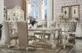 essex piece dining set acme  piece versailles dining set in bone white finish usa furniture o