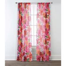 Sara B. Santa Monica 84 in. L <b>Polyester Floral</b> Sheer Window Panel ...