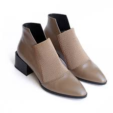 <b>New women</b> boots <b>genuine leather</b> pointed toe 4.5 cm high square ...