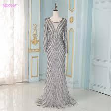 Elegant <b>Full</b> Sleeve Evening Dresses Long Gray Tulle <b>Beading</b> ...