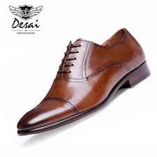 DESAI Brand Full Grain <b>Leather Business</b> Men <b>Dress Shoes</b> Retro ...