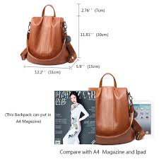 HERALD FASHION Quality Leather Anti thief <b>Women Backpack</b> ...