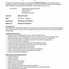 material handler sample resume  tomorrowworld comaterial