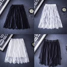 Chic Women <b>Spring Summer Lace</b> Skirt Casual Tulle <b>Hollow</b> Out ...