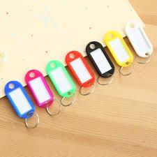 <b>10 PCS</b> Plastic Custom Split Ring <b>ID Key Tags</b> Labels Key Chains ...