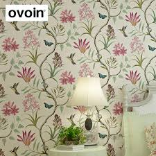 chinoiserie <b>wallpaper</b> Bedroom Wall Covering modern Vintage Pink ...