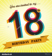 18th birthday party invite template design stock vector 184105511 18th birthday party invite template design in retro style vector background