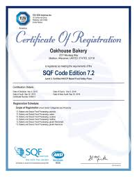 contract manufacturing oakhouse bakery sqf certificate