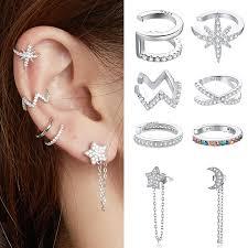 bamoer <b>1PC 925 sterling</b> silver clipr girls Earrings for Women CZ ear ...