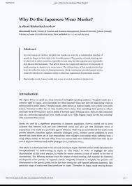 (PDF) Why Do <b>the Japanese</b> Wear <b>Masks</b>? A Short Historical Review