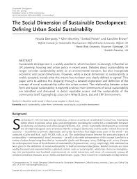 the social dimension of sustainable development defining urban the social dimension of sustainable development defining urban social sustainability pdf available