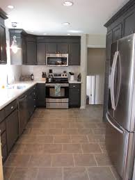 Gray Tile Kitchen Floor Kitchen Redo With Dark Gray Cabinets White Subway Tile Stove